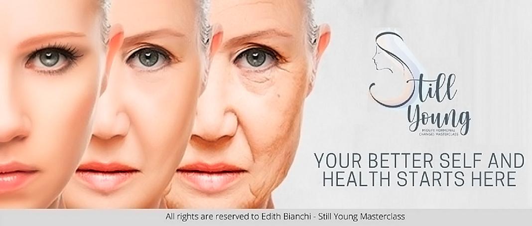 composición que ilustra el proceso de envejecimiento de la mujer